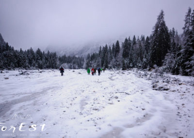 Si avanza sotto la nevischiata
